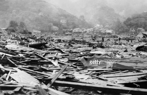 View 05 June 1960 of the remains of Corral harbour in the province of Valdivia Chile after the earthquake and the tidal waves that struck the area 22...