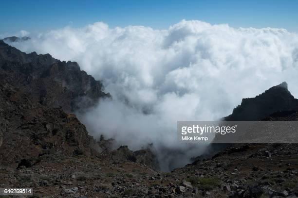 View above the clouds looking south to the Caldera de Taburiente National Park in La Palma Canary Islands Spain La Palma also San Miguel de La Palma...