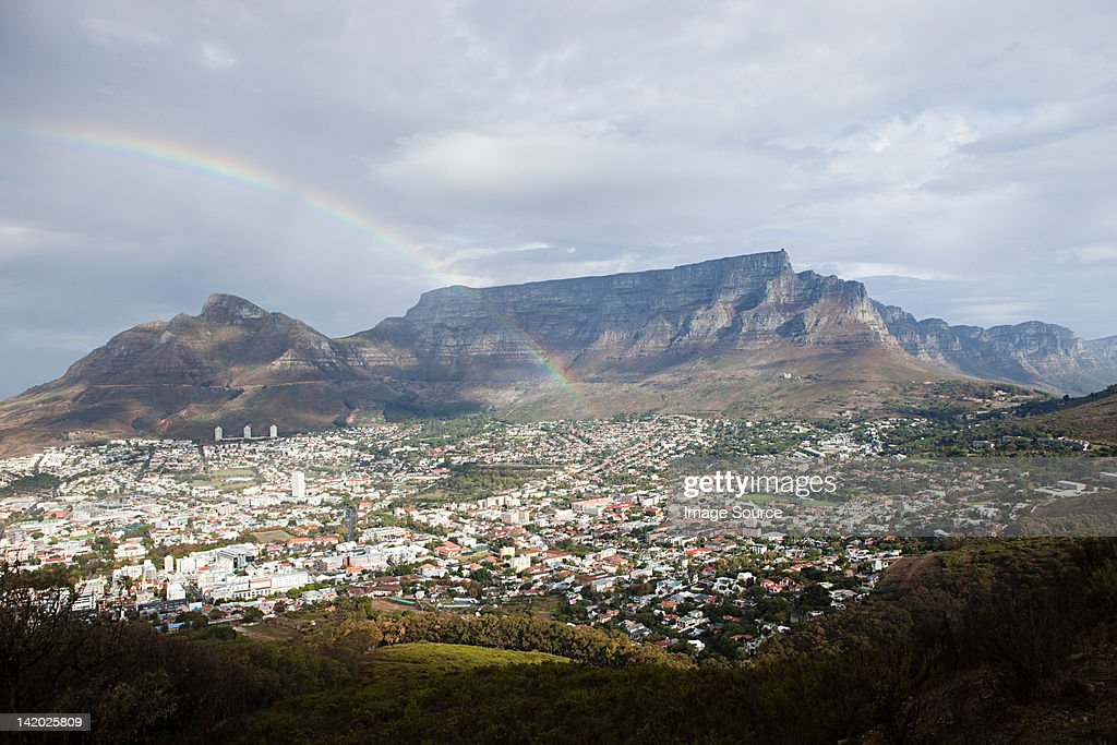 View across Cape Town to Table Mountain and Twelve Apostles mountain chain from Signal Hill, South Africa : Stock Photo