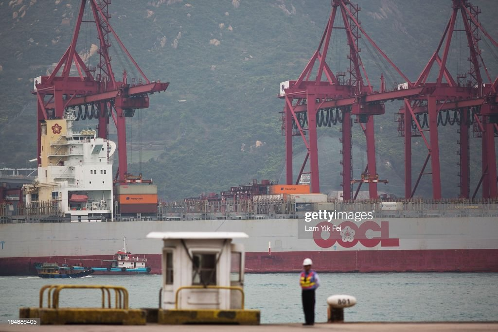 A view across Kwai Chung Container Terminals on March 29, 2013 in Hong Kong, China. The workers, who are employed by Hongkong International Terminals, are demanding higher wages, noting that they have not received a pay raise in 15 years.