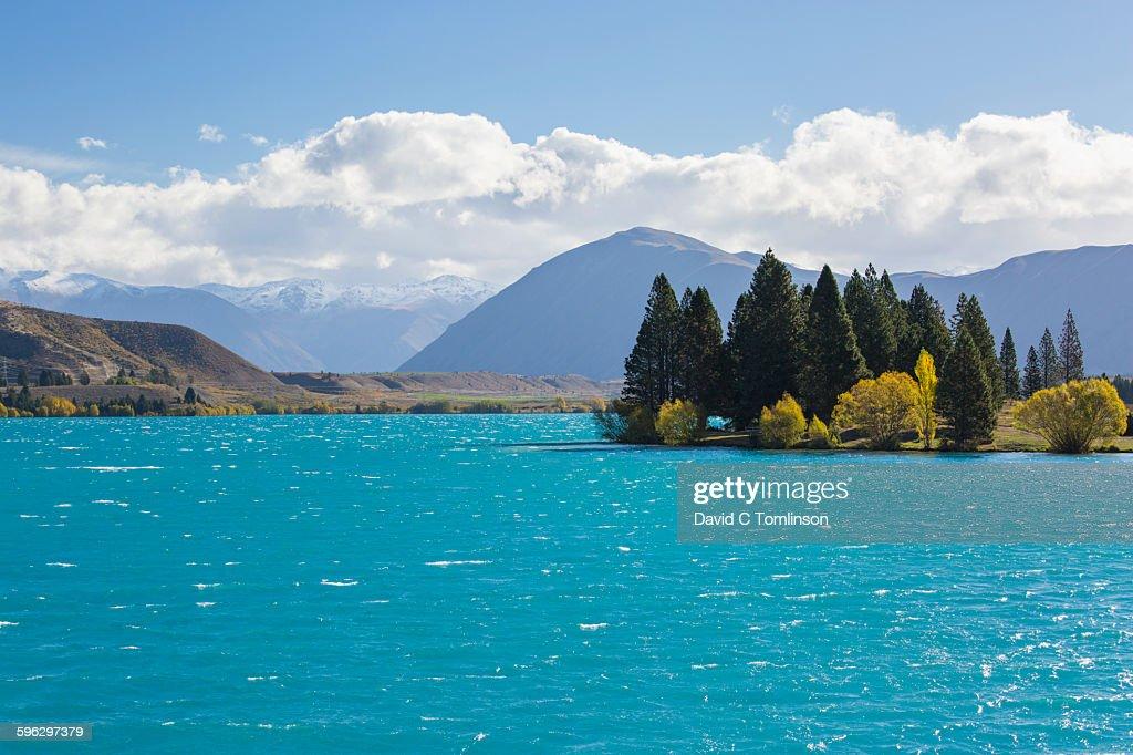 View across Lake Ruataniwha, autumn, Twizel