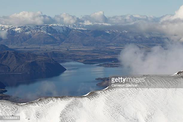 A view across Lake Wanaka from Treble Cone ski resort on July 30 2011 in Wanaka New Zealand