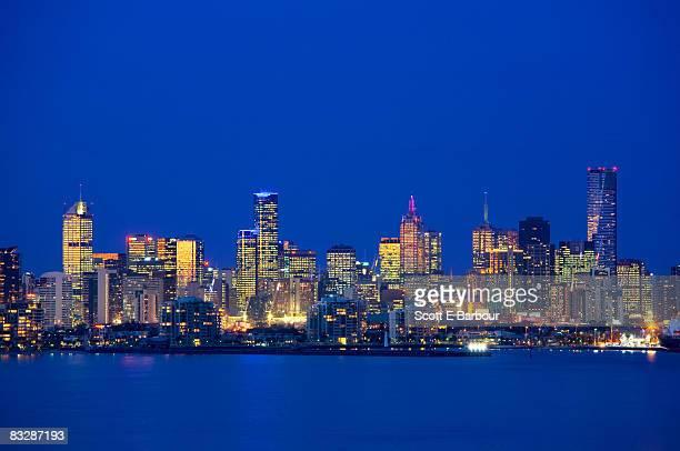 View across Port Phillip Bay, Melbourne skyline