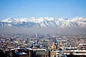 View across snow covered mountains, Turin, Italy