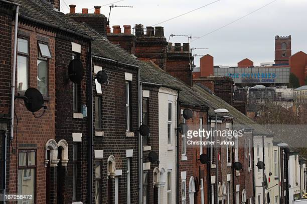 A view across the Cobridge area of StokeOnTrent where derelict terraced homes are being sold by the council for one GBP on April 23 2013 in...