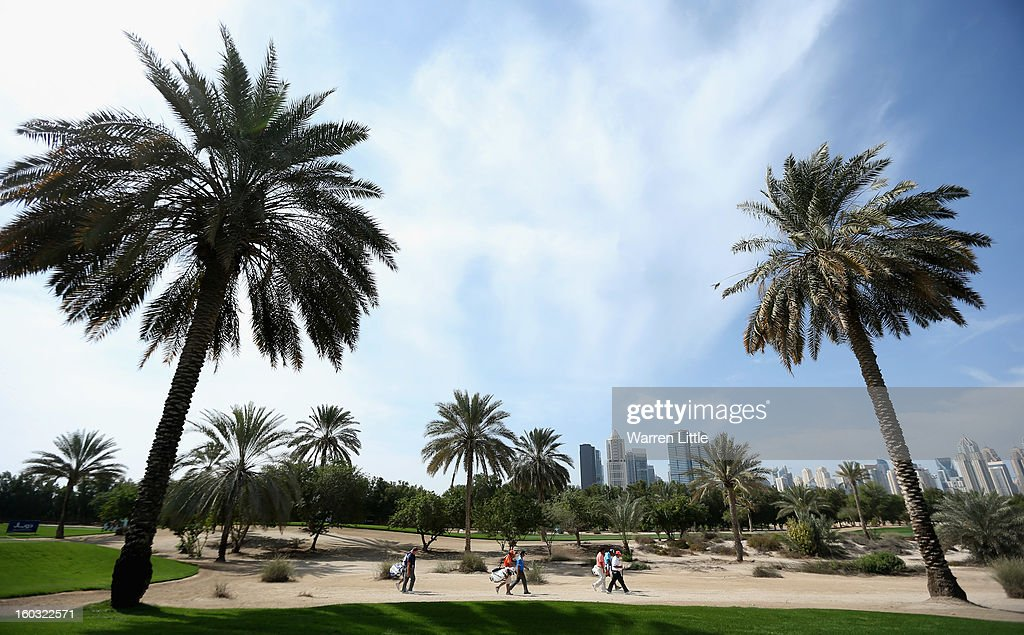 View across the course during a practice round ahead of the Omega Dubai Desert Classic on January 29, 2013 in Dubai, United Arab Emirates.