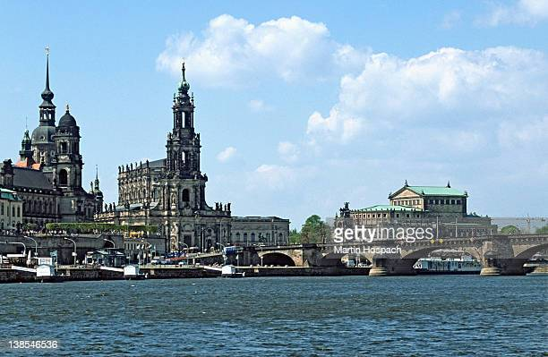 View across the Elbe River of historic buildings, Dresden, Germany