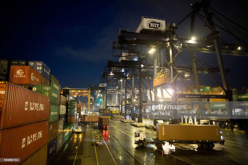 A view across the Kwai Chung Container Terminal during industrial action taken by dock workers on March 28, 2013 in Hong Kong, China. Over 100 workers, who are employed by Hongkong International Terminals, have taken strike action at the as they demand higher wages, claiming that that they have not received a pay raise in 15 years.