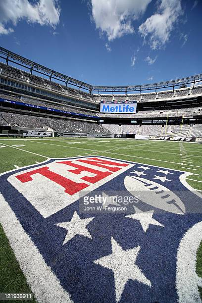 A view across the NFL logo to MetLife signage at New Meadowlands Stadium on August 23 2011 in East Rutherford New Jersey Life Insurance company...