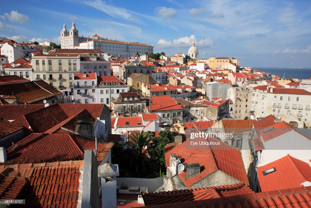 View across the old town of Alfama to Monastery of Sao Vicente de Fora