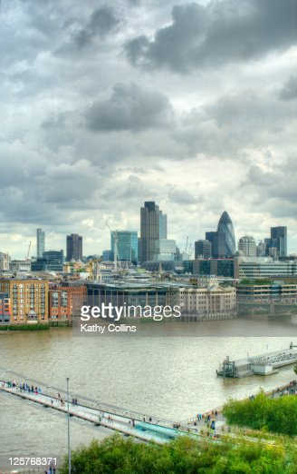 View Across The River Thames To The City Stock Photo