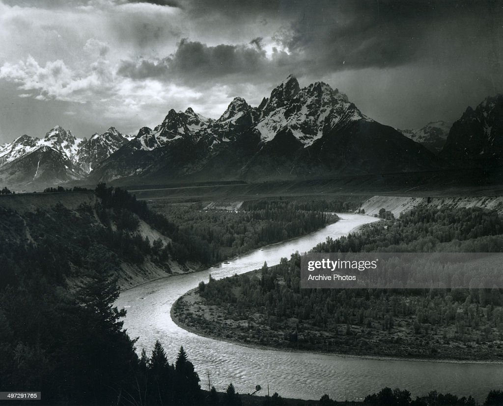 View, across the Snake River, of a section of Teton Range in Grand Teton National Park, Wyoming, 1941.