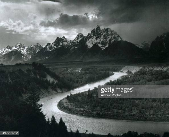 View across the Snake River of a section of Teton Range in Grand Teton National Park Wyoming 1941