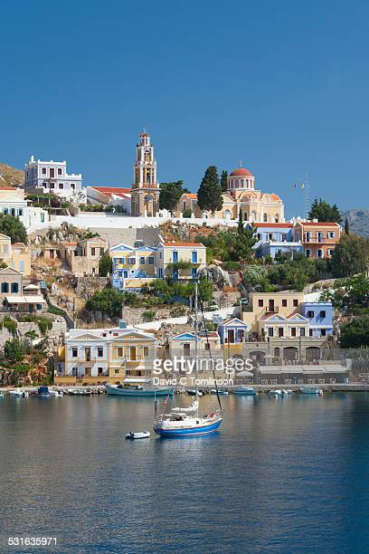 View across the tranquil harbour, Gialos, Symi