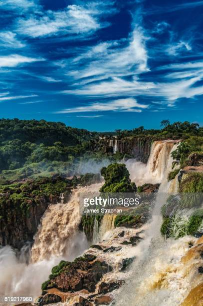 View across the Upper Circuit of multiple waterfalls on the Argentinian side, Iguazu Falls (UNESCO World Heritage Site), Iguazu, Argentina