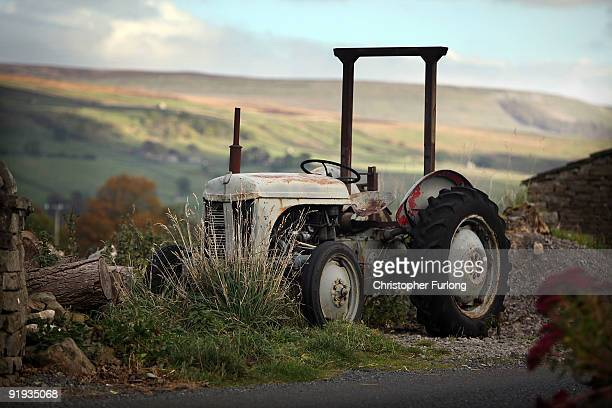 A view across Wensleydale the home of Wensleydale Cheese in Hawes nestling in the Yorkshire Dales on October 16 2009 in Hawes England Wensleydale are...