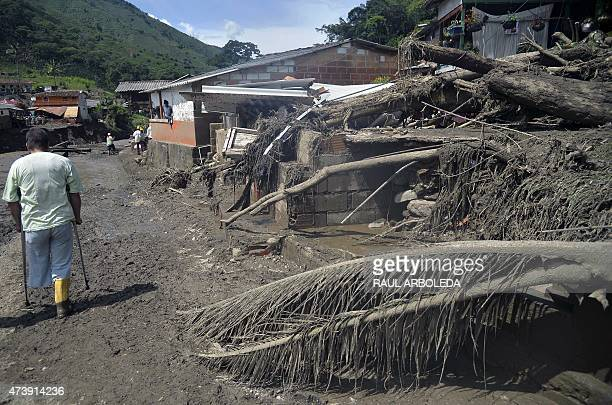 View after a landslide in Salgar municipality Antioquia department Colombia on May 18 2015 A massive landslide tore through a ravine in northwest...
