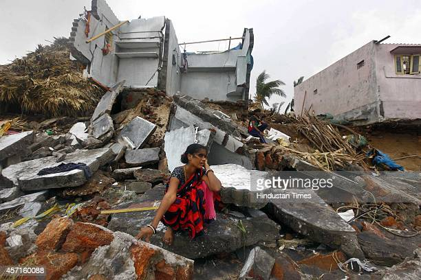 A view after Cyclone Hudhud damage at Kailashpuri costal aria on October 13 2014 in Visakhapatnam India Cyclone Hudhud left a swathe of destruction...