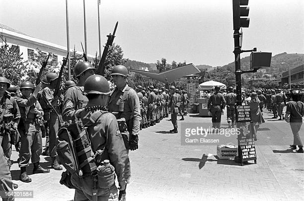 View along a line of California National Guardsmen as they arrive on the campus of the University of Berkeley during protests near People's Park...
