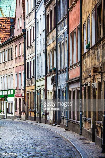 View along a narrow cobbled side street in Wroclaw's old town