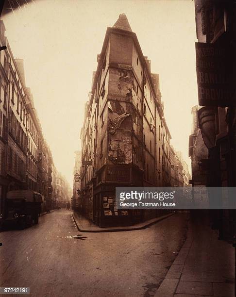 View along a pair of narrow streets entitled 'Coin rue de Seine' Paris France 1924