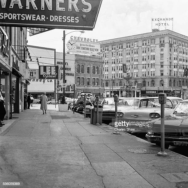 View along a sidewalk on the southwest corner of Dexter Avenue near the 'Historic Artesian Basin' the day before the Selma to Montgomery March...