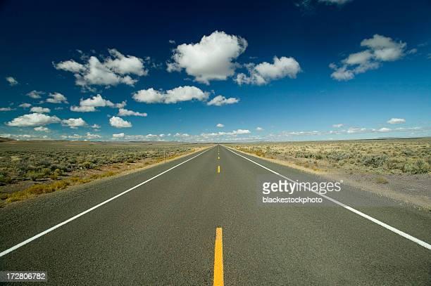 長いストレート road に地平線青い空と白い雲