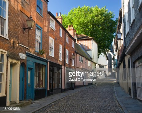 View along historic Elm Hill, Norwich, England