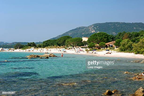 A view along the beach at Pinarello in Corsica