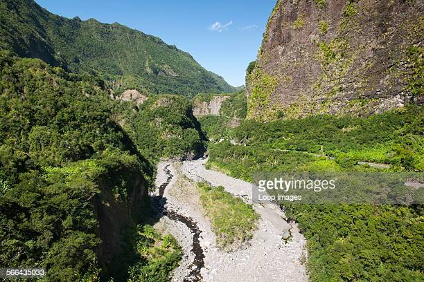 A view along the road to the Cirque de Cilaos caldera on the French island of Reunion in the Indian Ocean