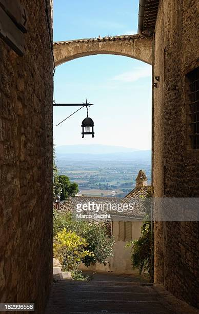 A view along the streets of Assisi on October 3 2013 in Italy Pope Francis is due to venerate the tomb of San Francesco of Assisi at the crypt of the...