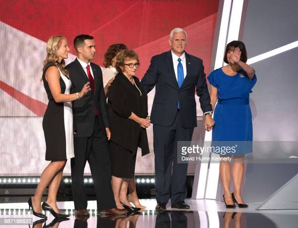 View American politician Indiana Governor and vicepresidential candidate Mike Pence and his family on stage during the Republican National Convention...