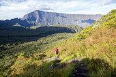 View and hike into Cirque de Mafate, Reunion island