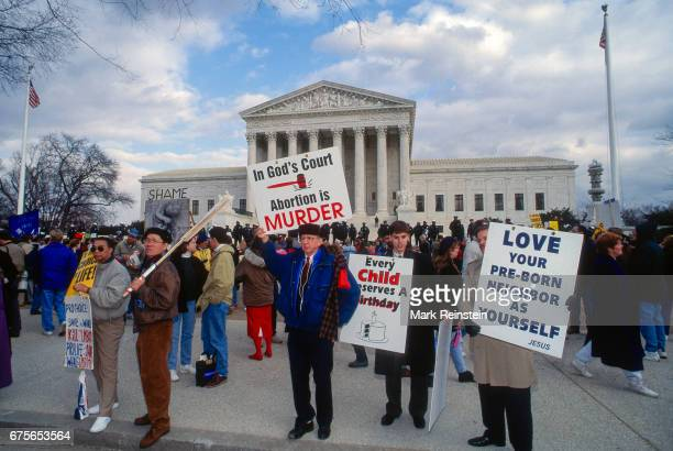 View antiabortion signs in the front of the United States Supreme Court Building during the annual March for Life Washington DC January 23 1995...