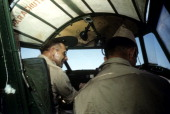 A view as 376th Bombardment pilots sit in a B24 Liberator at the US Air Force Base in Benghazi Libya