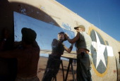 A view as a crew member of the 376th Bombardment Group works on a B24Liberators at the US Air Force Base in Benghazi Libya