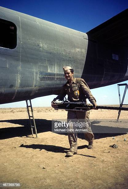 A view as a member of the the 376th Bombardment unloads a B24 Liberator at the US Air Force Base in Benghazi Libya