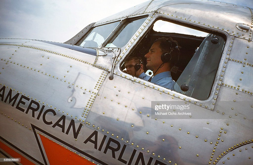 A view as a pilot sits in the cockpit of a Convair Liner for American Airlines.