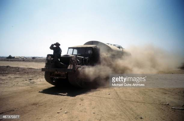 A view as a tanker truck drives on the base at the US Air Force Base in Benghazi Libya
