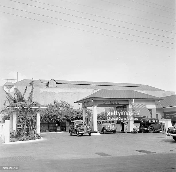 A view as cars at the Shell gas station in Jamaica