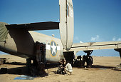 A view as crew members of the 376th Bombardment Group work on a B24Liberators at the US Air Force Base in Benghazi Libya