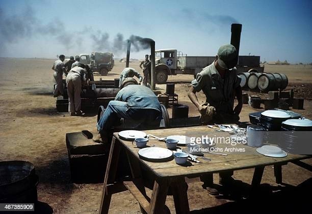 A view as crew members of the 98th Bombardment Group get food at the US Air Force Base in Benghazi Libya