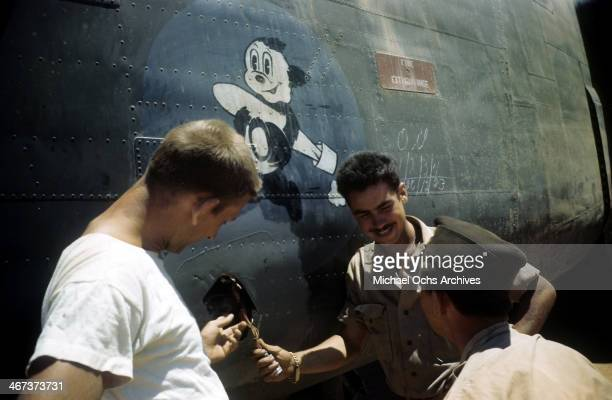 A view as crew of the 44th Bombardment Group inspect a B24 Liberator at the US Air Force Base in Benghazi Libya