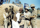 A view as local tribesmen sell fruit to soldiers at the US Air Force base in Benghazi Libya