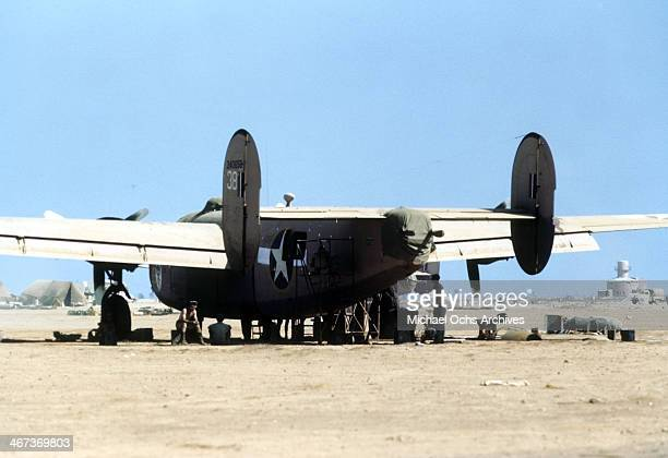 A view as the 376th Bombardment Group work on a B24Liberators at the US Air Force Base in Benghazi Libya