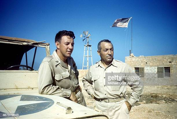 A view as the Colonel KK Compton of the 376th Bombardment Group looks on at the US Air Force Base in Benghazi Libya KK Compton