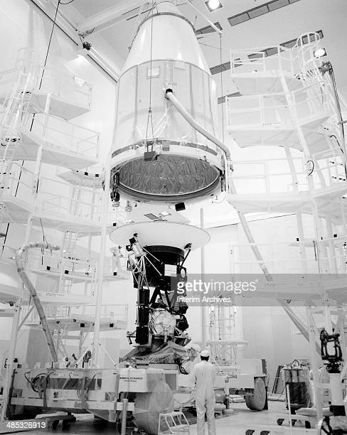 View as the nearly one ton heavy Voyager 2 spaceprobe is prepared for launch to Jupiter and Saturn August 1977