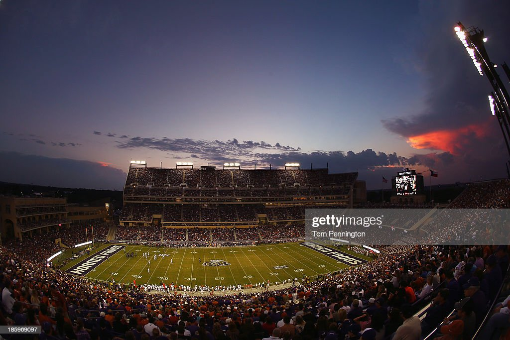 A view as the TCU Horned Frogs take on the Texas Longhorns in the first quarter at Amon G. Carter Stadium on October 26, 2013 in Fort Worth, Texas.