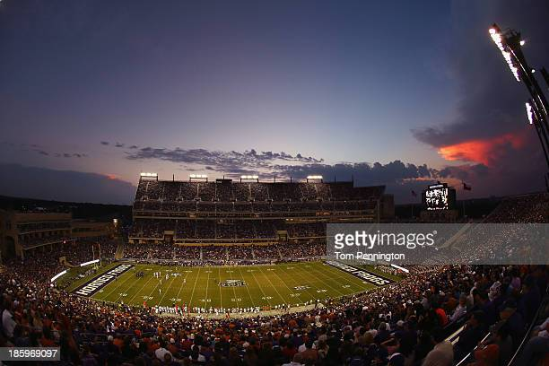 A view as the TCU Horned Frogs take on the Texas Longhorns in the first quarter at Amon G Carter Stadium on October 26 2013 in Fort Worth Texas