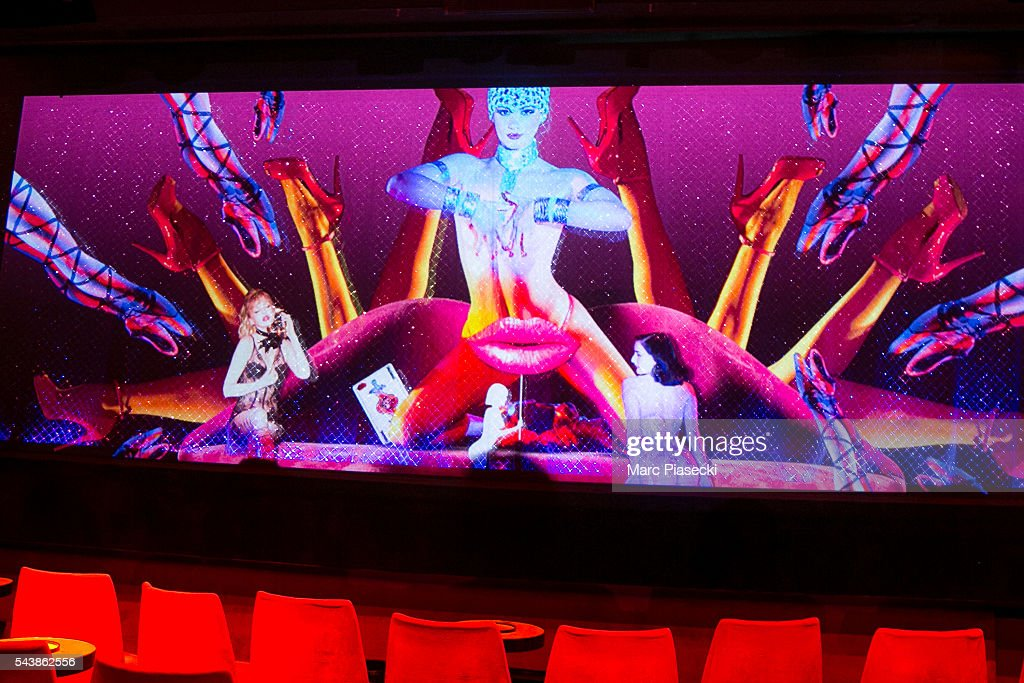 A view at 'Le Crazy Horse' cabaret's curtain on June 30, 2016 in Paris, France.